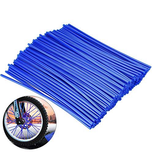 DECARETA 144 Stücke Speichenschutz Fahrrad PE Speichenabdeckung Speichencover Motorrad Fahrrad Speichenröhre Radschutz Blau Felgen Haut Universal AbdeckungSpeichen für Motorrad Bike Fahrrad