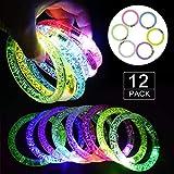 LED Armband Set,Huttoly 12er 6 Farbe Knicklichter Leuchtstab Glowstick Leuchtstick Armreif...