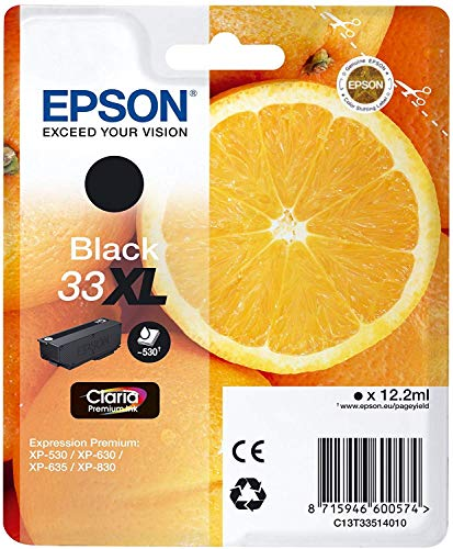 Epson Original 33XL Tinte Orange (XP-530 XP-630 XP-635 XP-830 XP-540 XP-640 XP-645 XP-900 XP-7100, Amazon Dash Replenishment-fähig) schwarz