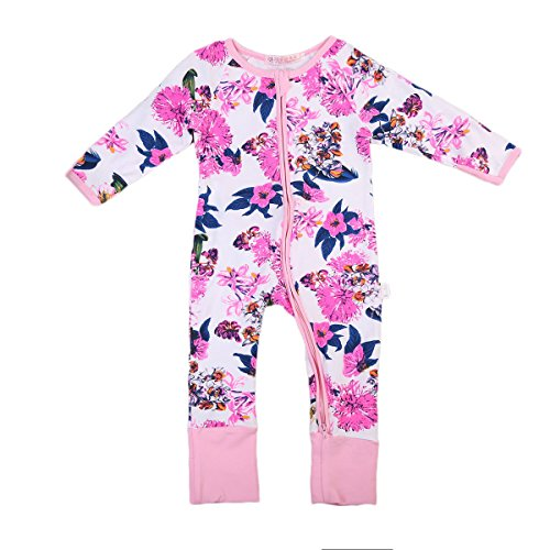ITFABS Newborn Baby Girl Pajamas Floral Sleeper Cute Flower Print Coveralls Clothes (70(6-12 Months), Pink White)
