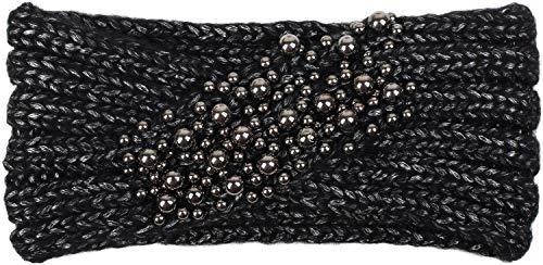 styleBREAKER Damen Strick Stirnband mit Twist, Knoten und Perlen, Winter Haarband, Headband gestrickt 04026022, Farbe:Schwarz