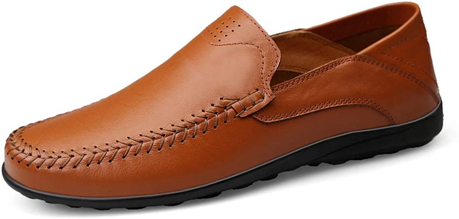 Mens loafers Flats Men's Casual And Refreshing OX Leather shoes With Soft Soles Are Not Slippery Boat Moccasins Driving Loafer (color   Red Brown, Size   5.5 UK)
