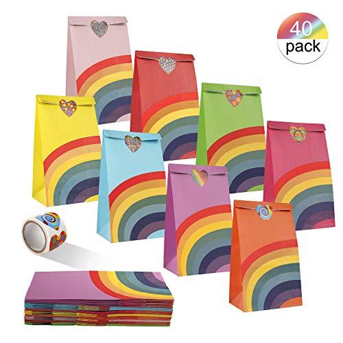FT-SHOP Geschenktaschen 40 Stück Regenbogen Papiertüten mit 1 Rollen Herz-Aufklebern für Weihnachten Geburtstagsfeier Babyparty Hochzeit 12 x 8 x 22cm