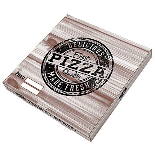 VASOMADRID, S.L. 100 uds - Caja Pizza Carton Kraft 260x260x35. Caja ECOLÓGICA DESECHABLE para Pizza Bonito DISEÑO (33_cm)