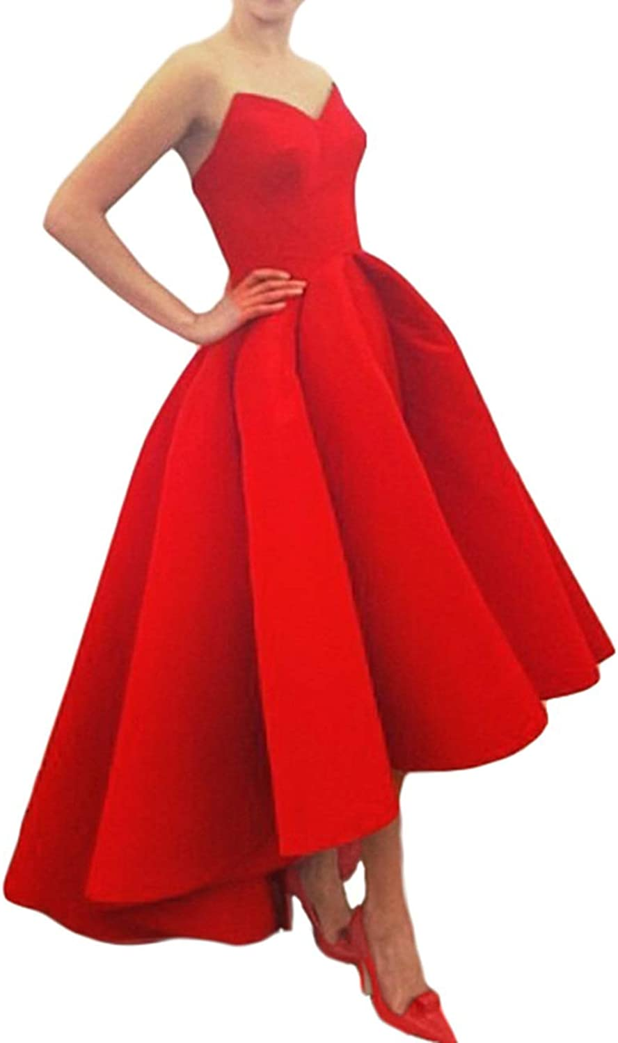Beilite Women's Sweetheart Satin A Line High Low Prom Dresses Formal Party Gown