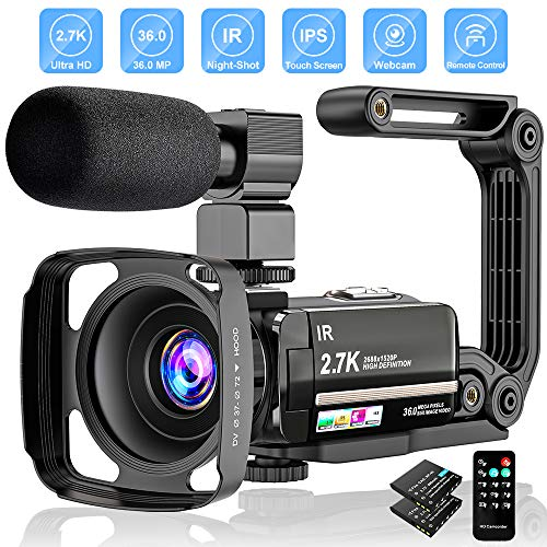 Videocamera Digitale Full HD 2.7K FHD 36MP per vlogging per Youtube IR Night Vision 3.0'LCD Touch Screen 16X zoom digitale con registratore palmare stabilizzatore per microfono, 2 batterie