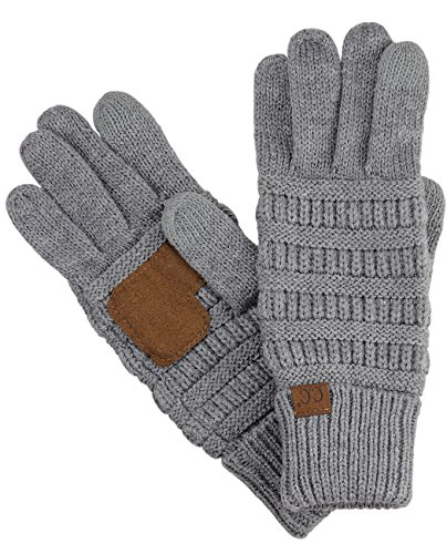C.C Unisex Cable Knit Winter Warm Anti-Slip Touchscreen Texting Gloves, Light Melange Gray