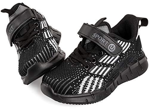 Vunavueya Kinder Laufschuhe Jungen Running Sneakers Mädchen Sportschuhe Freizeit Turnschuhe Low-Top Sports Schuhe Klettverschluss Schwarz 34 EU(35CN)