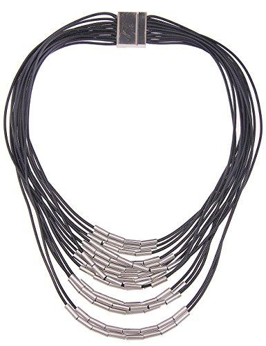 Leslii Damen Kette, kurze Stoff Bänder Modeschmuck Statement Halskette in Schwarz, glänzende Röhrchen in Silber, 57 cm