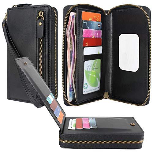 Lacass Geldbörse mit Doppelreißverschluss, Leder, Handtasche mit Kartenfächern, Geldfach für Blu Vivo X5 / XL+ / XL3 Plus / XL4 5 / V9 / G8 / G9 Pro / R2 Plus / X8 HD/Life One X3 / A6 2018, schwarz