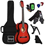 Best Choice Products 38in Beginner All Wood Acoustic Guitar Starter Kit w/Case, Strap, Digital Tuner, Pick, Strings - Red Burst