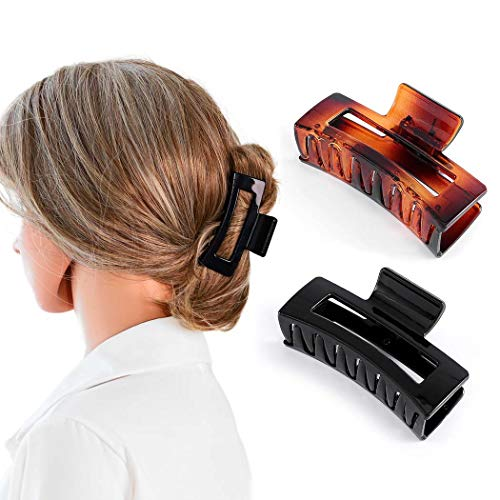 Nicute Haarklammern, Schwarz und Braun, rechteckig, rutschfest, groß, Haarklemmen für Frauen und Mädchen (2 Stück)