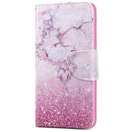Compatibile con Custodia iPod touch 5,Custodia iPod touch 6,ikasus PU Leather Shock-Absorption Custodia Sottile TPU Interno Case per iPod touch 5 / iPod touch 6, Cover iPod touch 6 - Rosa Marmo