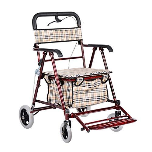 GWXTC Faltbarer Bollerwagen Multifunktions-Wagen für alte Männer, Pushable 4 Wheels Folding Einkaufswagen Lebensmittel einkaufen Gehhilfe Ruhesitz Einkaufswagen bewegen, Belastung: 100 kg (Color : B)