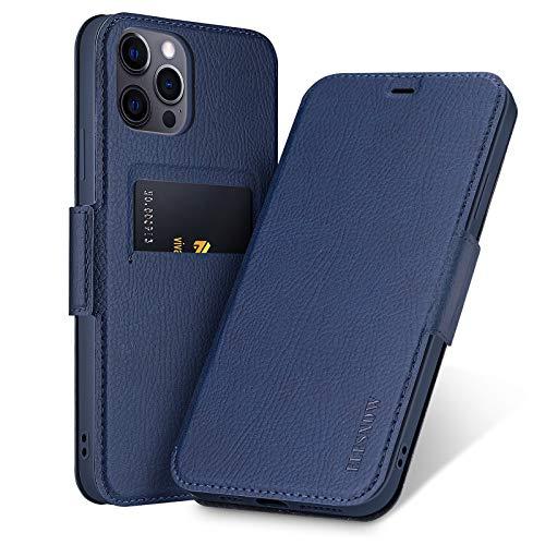 ELESNOW Funda para iPhone 12/12 Pro, Carcasa de Cuero con Cierre Magnético y Tarjetero para Apple iPhone 12/12 Pro 6.1 Pulgada (Azul)