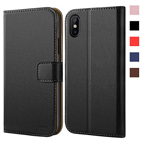 HOOMIL iPhone Xs Wallet Case, iPhone X Wallet Case,Book Style Wallet iPhone X Case,Faux Leather Folio,Card Cash Slots, Magnetic Closure,Kickstand,Ultra Slim Full Body Protection for iPhone Xs/X(Black)