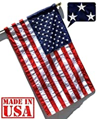 Finished with Pole Sleeve and Leather Tab (not plastic) for easily sliding over a pole (pole NOT included, sold separately); -- See photo for installation instruction; Constructed with U.S. STANDARD 200 DENIER Flag Nylon (SolarMax nylon), America's #...