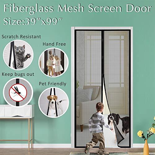Fiberglass Mesh Magnetic Screen Door, IKSTAR Instant Screen Door with Full Frame Magics Tape Mesh Curtain for Front/Back Door Home Outside, Kids/Pets Walk Through Easily Fit Door Up to 36'x 98' Max