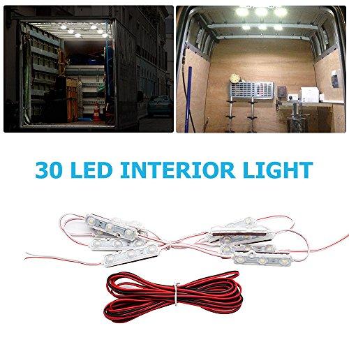 Maso-Kit d'éclairage d'intérieur ultra lumineux 40 LED pour voiture, camion, camping-car, caravane, plafonnier (DC 12 V, blanc)
