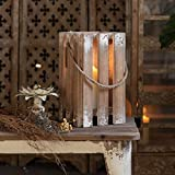 Farmhouse Wood Decorative Candle Lanterns,Rustic Floor Candle Holders for Pillar Candle, Vase Hanging Candle Lanterns Holder for Table Mantel Entryway Wedding, Natural, No Glass (Large)