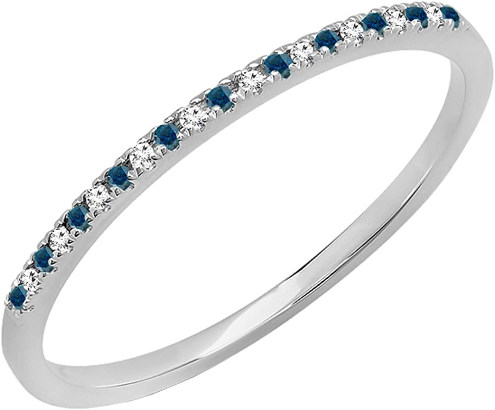 0.08 Carat (ctw) 14K Gold Round Blue & White Diamond Ladies Dainty Wedding Stackable Band