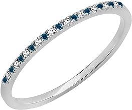 Dazzlingrock Collection 0.08 Carat (ctw) 10K Gold Round Blue & White Diamond Ladies Dainty Wedding Stackable Band