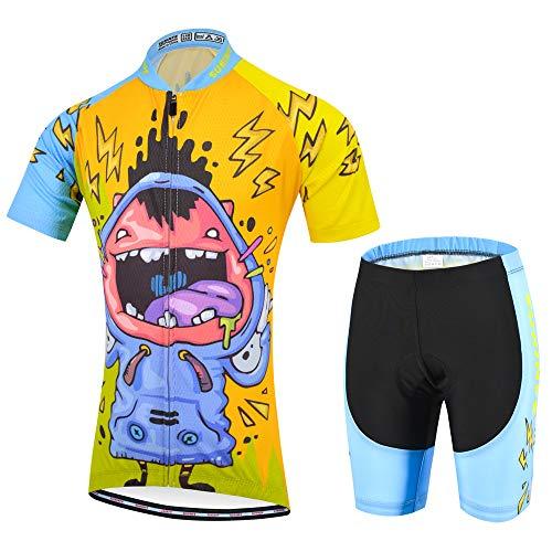 SUHINFE Abbigliamento Ciclismo Ragazzi Estivo, Manica Corta Jersey Riciclaggio Giacca Cuscino Dry Traspirante 3D Imbottite Shorts Pantaloni (2XS, Ridere)