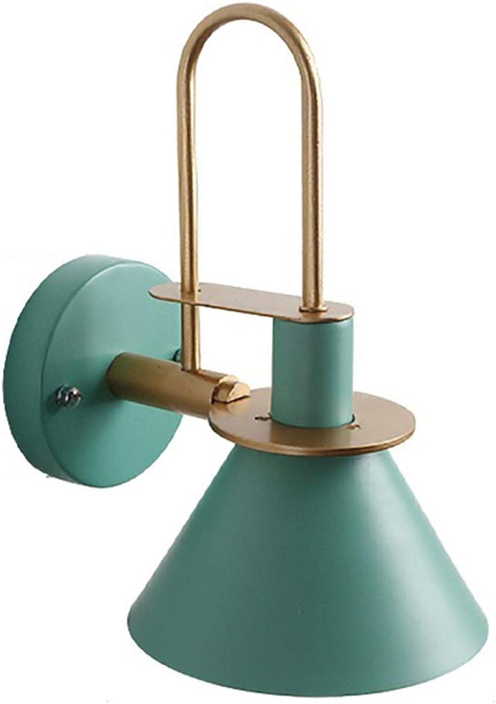TopDeng Wandleuchte Einfach Makrone E27 Wandlampe, Horn Schattierungen Design Wandlampe Eisen Befestigung Schlafzimmer Kinderzimmer Café Beleuchtung-Grün 18cm
