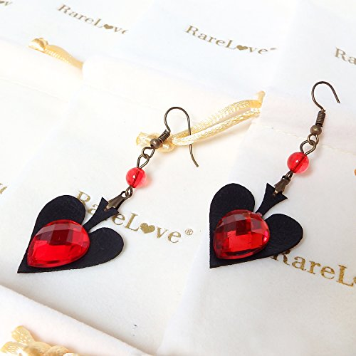 RareLove Vintage Lolita Red Rhinestone Heart Dangle Earrings