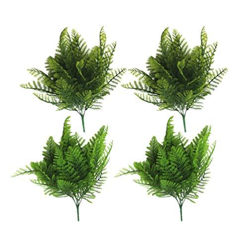 HEALLILY 4 Stück Künstliche Farne Immergrüne Künstliche Boston Farn Busch Faux Lebensechte Fälschung Verlassen Kunststoffpflanzen für Wohnkultur Aquarium Aquarium