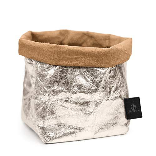 stil-macher Designer Krempelkorb - Gr. M - | Aufbewahrungskorb aus waschbarem Papier | Lederoptik | VEGAN | Deko-Box | Geschenkbox | Übertopf (Silber, Eckig)