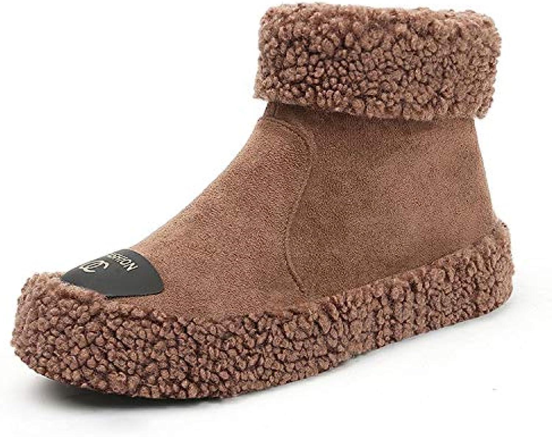 HOESCZS Frauen Schuhe Winter Revers Schuhe Martin Stiefel Dicken Boden Plateauschuhe Schnee Baumwolle Stiefel Damenschuhe