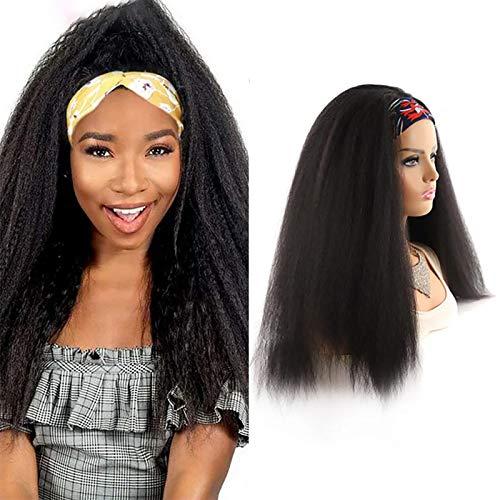 TYUIY Pelucas de la Diadema Pelucas Kinky Cabello Rizado 180% Densidad Ninguna Máquina de Encaje Máquina de Encaje Made Peluca Glueless Weages Wigs para Mujeres Natural Co Colorful