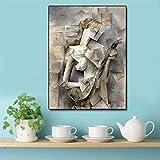 Abstracto moderno lienzo femenino pintura cartel impresión nórdica pared arte imagen mapa lienzo salón pared artista hogar sin marco pintura decorativa Z31 30x40 cm