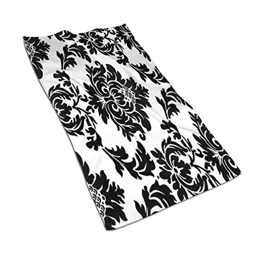 GSRONY Soft Hand Towel White Black Damask Flower Floral Bath Hand Towels Washcloth for Home/Beach/Yoga 27.5 X 17.5 Inches