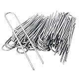 toci 100 picchetti di ancoraggio da 200 x 25 mm, zincati, in filo di acciaio, con diametro da 3,8 mm, pezzi di ancoraggio per il fissaggio di teli anti-erbacce, pellicole, tubi in pavimenti duri, ecc.
