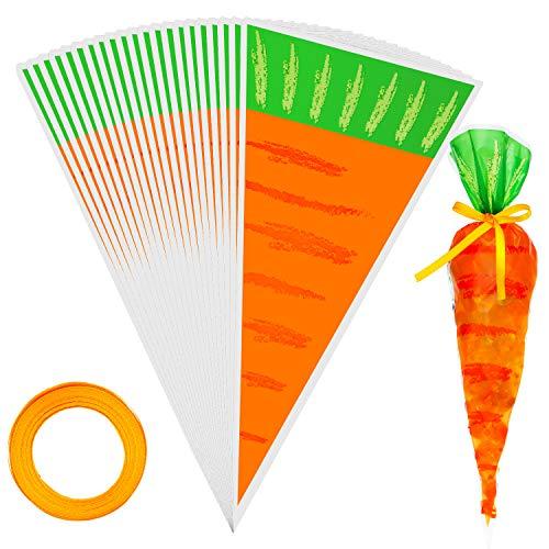 100 Stück Zellophan Leckerlis Beutel Ostern Leckerlis Tüte Karotten Kegel Leckerlis Beutel Karotten Süßigkeiten Tasche mit 1 Rolle Orangenband für Ostern Party Bedarf, 16 x 8 Zoll