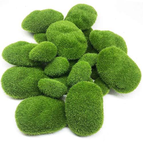 Woohome Musgo Artificial Rocas Decorativas, 25 Pz 2 Tamaño Piedras Artificiales Decorativas de Imitación para Jardines, Diseño de Terrarios de Hada, Arreglos Florales y Manualidades