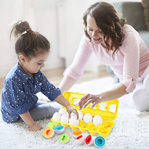 モンテッソーリおもちゃパズル-Sendidaイースター12卵知育玩具幼児おもちゃブロックおもちゃ12カラーシェイプマッチングエッグセットはめこみ形合わせ12歳学習玩具(卵12個)