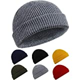 SATINIOR Trawler Beanie Watch Hat Rollup Edge Skullcap Fisherman Winter Beanie Hat Unisex (Dark Gray), about 28 cm/ 11 inches