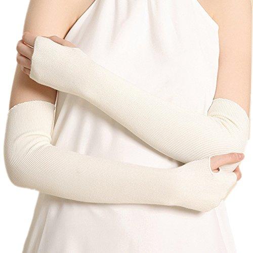Ele Gens Damen Fingerlos Armwärmer Armstulpen Handschuhe gestrickt Lang Baumwolle (Weiß)