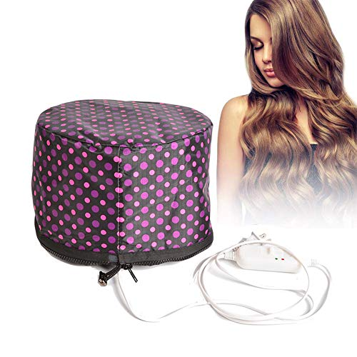 110V Hair Care Hat,Hair SPA Cap,Hair Care Steamer Cap,Thermal Hair Cap,Waterproof Home Hair Thermal Care Electric Hair Treatment Beauty Steamer Perfect for Family Personal Care (Poka dot)