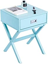 Yxsd Bedside Table, Side End Table Nightstand Bedside Cabinet with Drawer Storage, X-Shape Accent Furniture for Home, Livi...