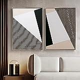 Pintura abstracta geométrica en lienzo póster negro moderno impresión sala de estar dormitorio oficina imagen nórdica arte de pared decoración del hogar sin marco-50x70cmx2