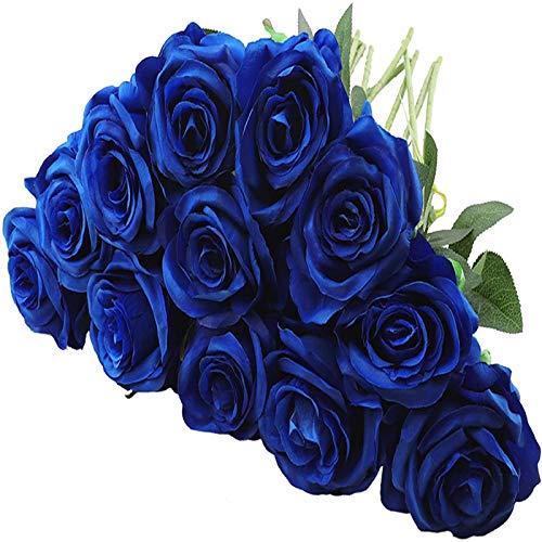 YYHMKB 12 Piezas de Rosas Artificiales, 19,7 Pulgadas de Flores de Seda de Tallo Largo único Ramo de Rosas realistas para la decoración de la Oficina del Banquete de Boda en casa, Azul