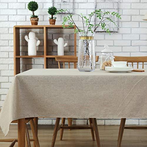 Morbuy Rectangle Mantel de Lino de algodón Antimanchas, Color Puro Mantel Rectangular de para el Restaurante del Hotel de casa Restaurante, Algodón Multicolor Decoración (130 * 200cm, Beige)