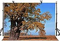 Zhyオークの木の背景7X5FT青空黄色の葉自然風景屋外パーティー写真背景YouTubeフォトスタジオプロップカスタマイズ990