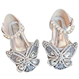 Little girl's flat shoes sequins princess shoes big bow tie Mary Jane party shoes Rhinestone party sandals (Silver+1, numeric_5_point_5)