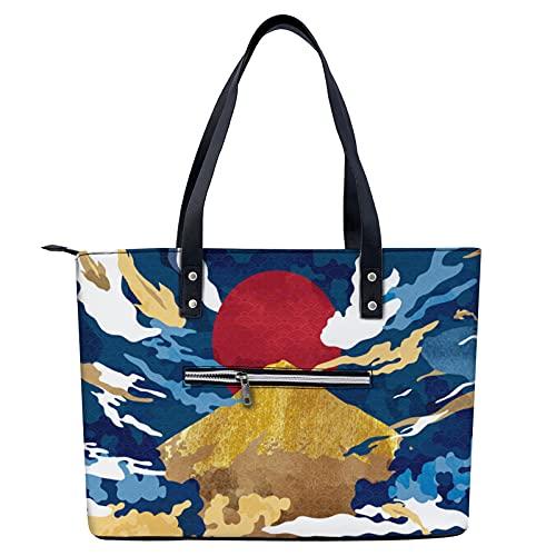 Impresión abstracta de la cultura oriental japonesa bolsa de mano ligera para ir de compras,...