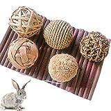 hospaop giocattoli da masticare conigli, giocattoli da coniglio, piccolo animale attività giocattolo, 10 pezzi palla naturale dell'erba, gioco da masticare per conigli criceti criceto